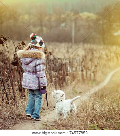 happy cute girl with her dog breed White Terrier walking in a field