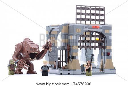 Ankara, Turkey - May 23, 2013: Lego Star Wars Jedi Master Luke Skywalker  trapped in the Rancor Pit beneath Jabba the Hutt�s Palace isolated on white background.
