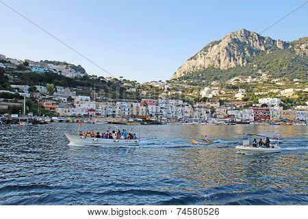 Tour Boats Towing Blue Grotto Boatmen, Marina Grande, Capri, Italy