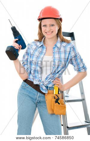 cute carpenter woman holding a drill, wearing a hardhat