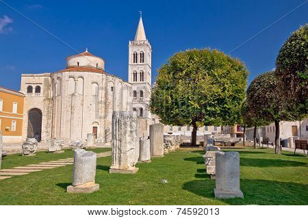 Historic Roman Artefacts On Zadar Square