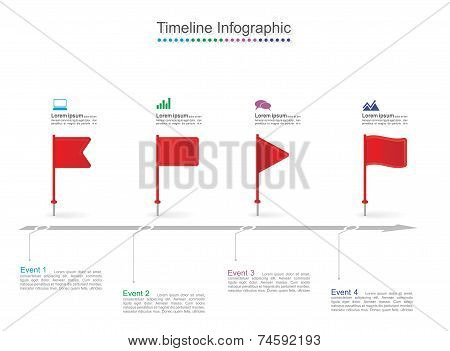 Timeline infographics with elements and icons. Vector illustration poster