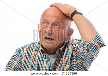 portrait of astonished senior man - isolated over white