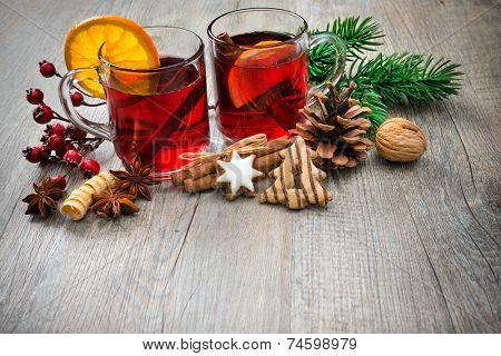 Hot wine for winter and Christmas with orange and spices