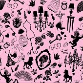 Seamless pattern with glamour accessories furniture girl portrait and dogs - black silhouettes on pink background. Ready to use as swatch. poster