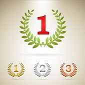 First place emblem, plus additional icons of gold, silver and bronze awards. poster