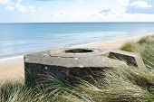 Tobruk bunker WW2 Utah Beach is one of the five Landing beaches in the Normandy landings on 6 June 1944 during World War II. Utah is located on the coast of Normandy France poster