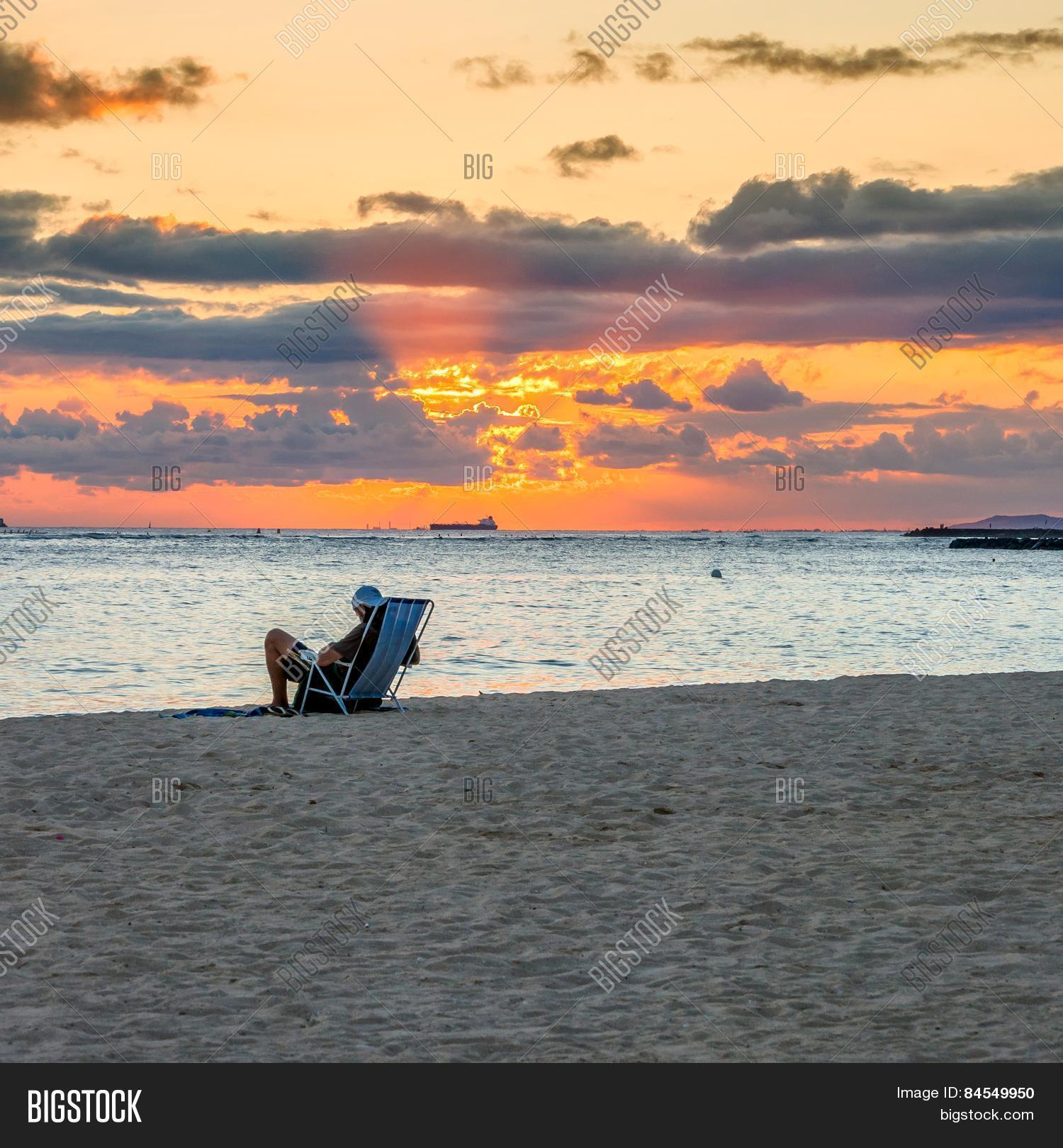 Sunset Waikiki Beach Image Photo Free Trial Bigstock