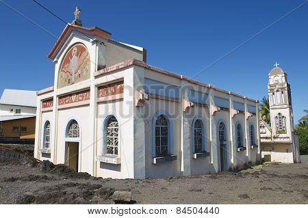 Exterior of the Notre dame des laves church in Sainte-Rose De La Reunion, France.