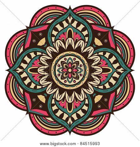 Multicolored Vector Mandala In Retro Style