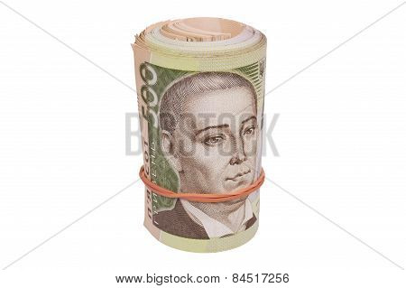 Roll Of Ukrainian Hryvna Bills Isolated Over White
