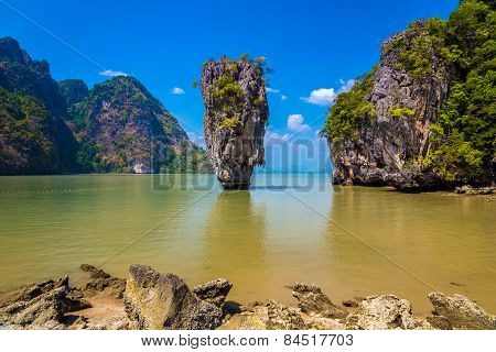 The world famous James Bond island also known as Khao Phing Kan featuring the 20m tall islet known as Ko Tapu in Phang nga bay in Thailand. poster