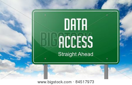 Data Access on Green Highway Signpost.