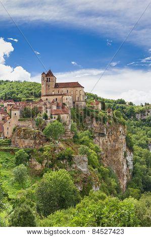 Saint Circ Lapopie In France Against A Blue Sky