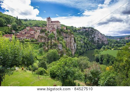 Village Of Saint Circ Lapopie In France On A Summer Day