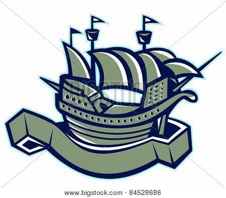 Sailing Ship Galleon Scroll