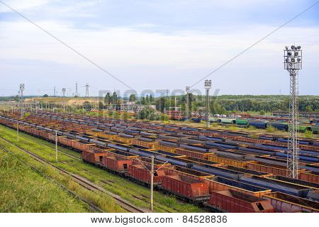 Freight Trains On City Cargo Terminal