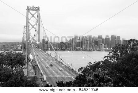 Bay Bridge Cars Speeding Rush Hour Commute San Francisco