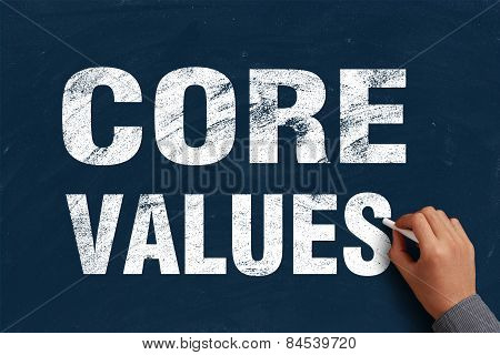 Businessman is writing Core Values text on blue chalkboard. poster
