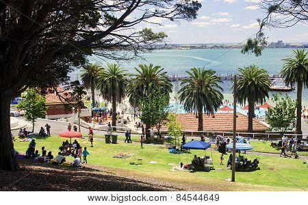 Geelong, Australia - December 25, 2014: Australians Are Resting