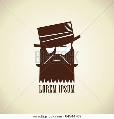 Hipster man with a beard and mustache in hat stylish logo template.