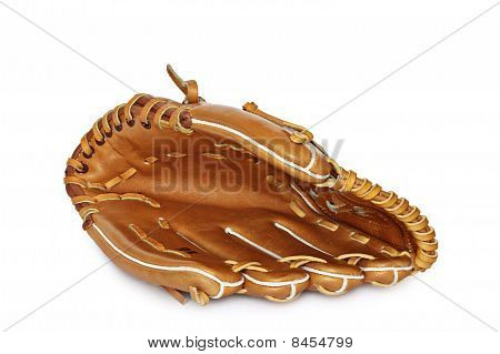 Empty Baseball Catcher Mitt Isolated On White Background