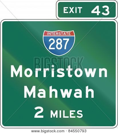 New Jersey Interchange Advance Guide Signs
