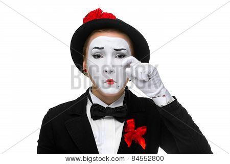 Portrait of the sad and crying woman as mime isolated on white background. Concept of sadness poster