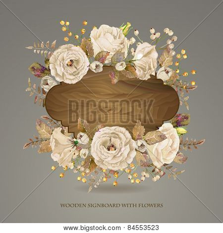 Vector  Frame Of  White Watercolor Roses And Berries On Wooden Background.