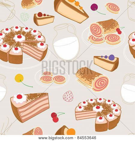 Seamless Set Of Desserts And Pastries, Symbolizing A Coffee Shop