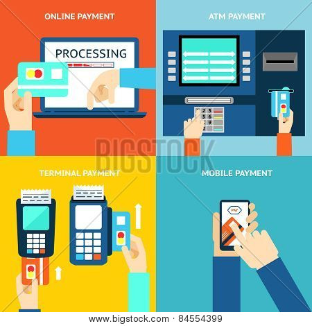 Payment methods. Business and buy, flat design and money. Credit card, cash, mobile app and ATM terminal. Vector illustration poster