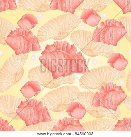 Seamless Texture Seashells And Pearls Vector