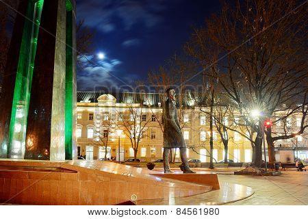 Vilnius City Sculpture To Vincas Kudirka. Author Of Hymn Lithuanian Republic