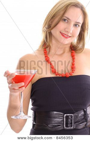 happy young blonde having cocktail