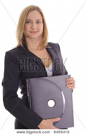 business woman blonde holding laptop