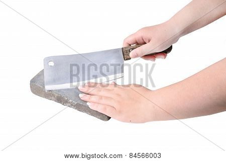 Sharpening Or Honing A Knife On A Waterstone, Grindstone In Woman Hand On The White Background