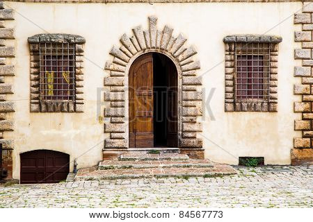 Facade Of The House In Medival Tuscany Town