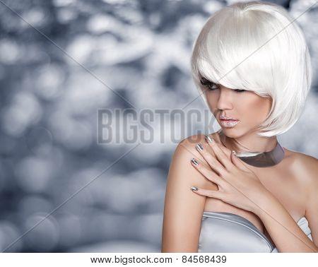 Fashion Blond Girl. Bob Hairstyle. White Short Hair. Beauty Portrait. Woman Over Grey Bokeh Backgrou