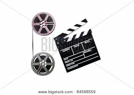 Vintage 8Mm Purple And Grey Movie Reels And Clapper