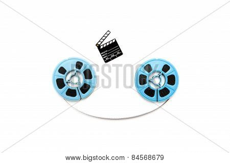 Vintage 8Mm Blue Movie Reels And Little Clapper White Background