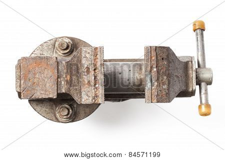 Metal table vise clamp for industrial use with an open jaws isolated on white background poster