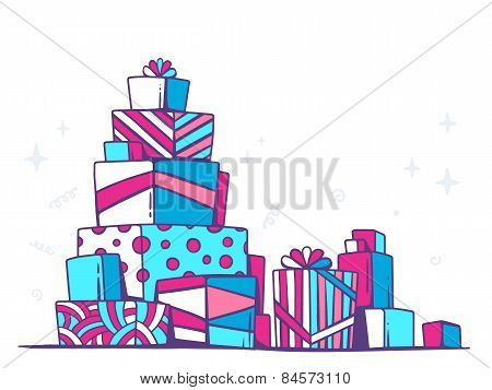 Vector Illustration Of Large Pile Of Red And Blue Gifts Standing On Each Other On White Background.