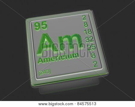 Americium. Chemical element. 3d poster