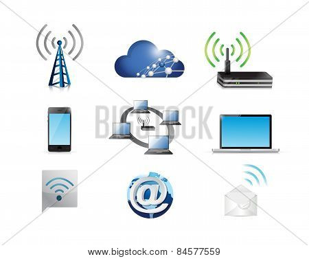 Communication Network Concept Icon Set
