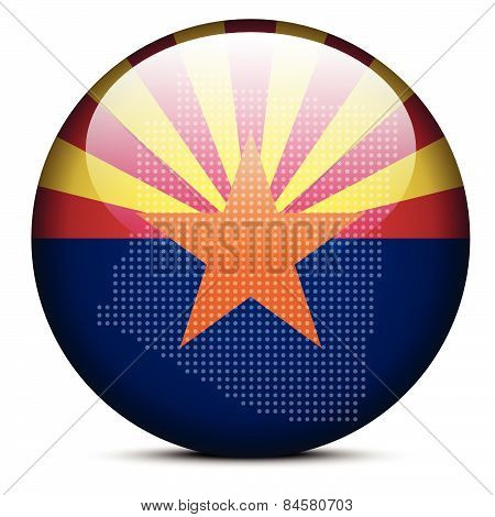 Map With Dot Pattern On Flag Button Of Usa Arizona State