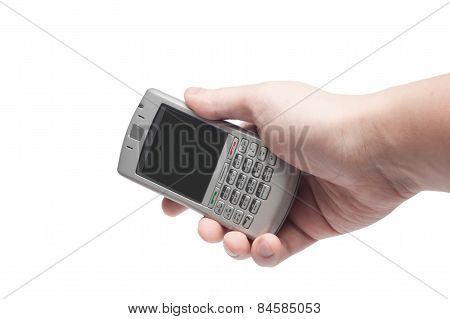 Smart Phone With Qwerty Keyboard In Hand Isolated On White Background