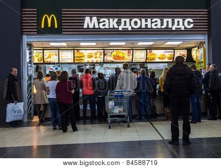 People Buying Fast Food From Mcdonald's Restaurant
