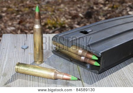 Green Tipped Ammo And Magazine