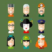 Set of vector avatar in flat design style. poster