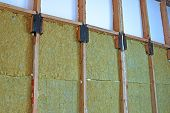 Construction of walls of a frame house with different types of heat insulation poster